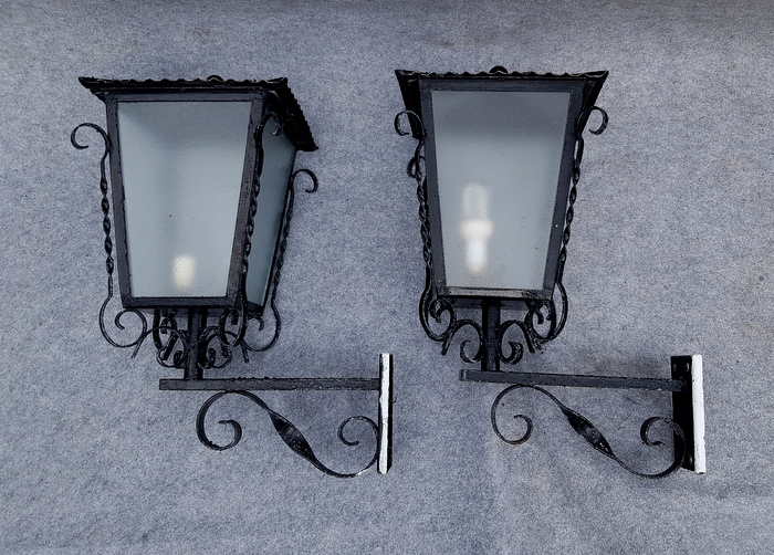 2 GROSSES APPLIQUES REVERBERES / 2 LARGE WALL STREET LIGHT