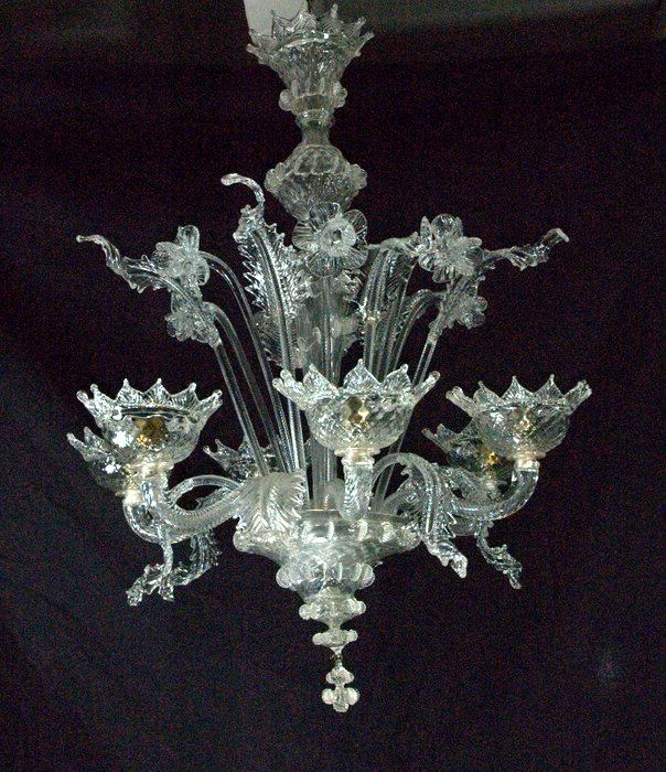 LUSTRE MURANO 6 LUMIERES / MURANO LUSTER WITH 6 LIGHTS