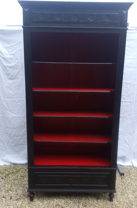 ARMOIRE BIBLIOTHEQUE BOIS NOIRCI /  BLACKENED WOOD BOOKCASE