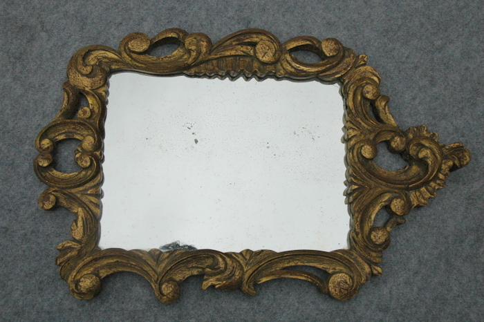 MIROIR ROCAILLE BOIS DORE / ROCAILLE GILDED WOOD MIRROR