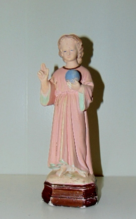 ENFANT JESUS EN PLATRE PEINT/ JESUS CHILD IN PAINTED PLASTER
