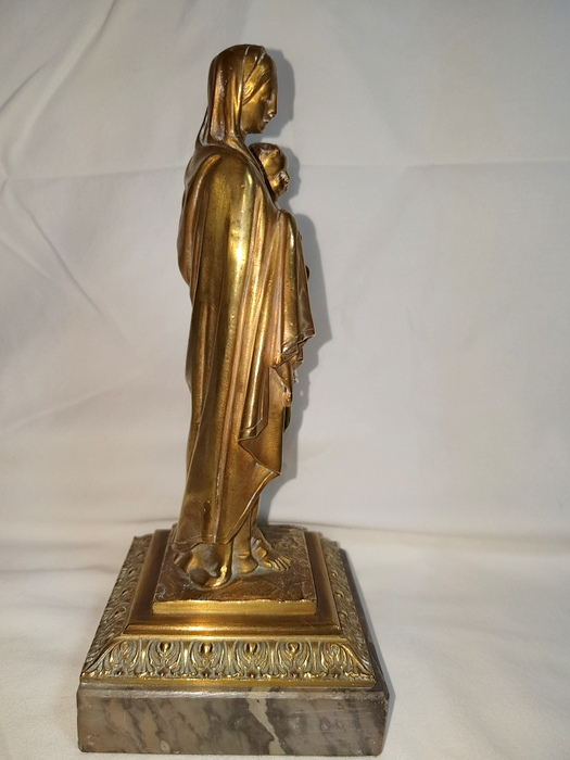 VIERGE A L'ENFANT BRONZE / BRONZE VIRGIN AND CHILD