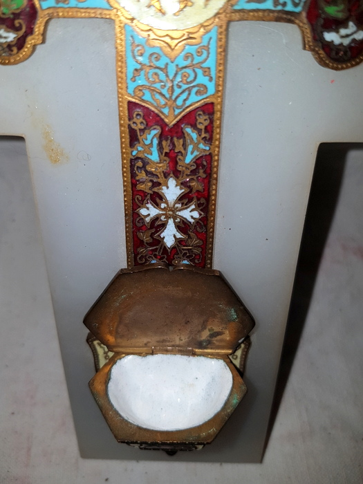 GRAND BENITIER EMAILLE / BIG ENAMELLED HOLYWATER FONT