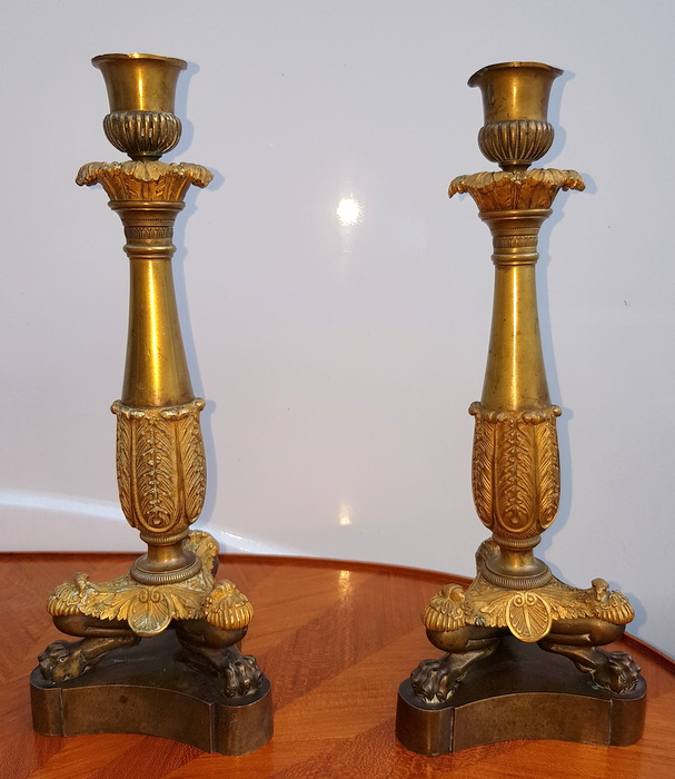 PAIRE DE BOUGEOIRS BRONZE EMPIRE / PAIR OF BRONZE CANDLESTICKS EMPIRE