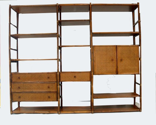 BIBLIOTHEQUE BAMBOU ET ACAJOU ROCHE BOBOIS 1980/BAMBOO AND MAHOGANY BOOKCASE