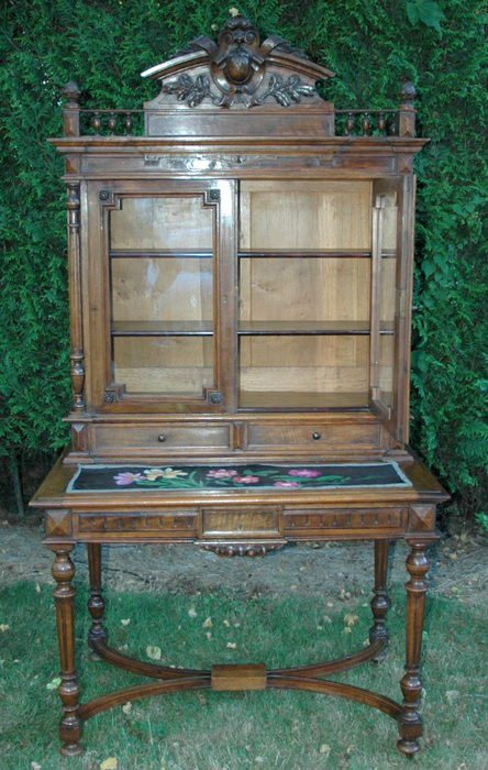 BUREAU BIBLIOTHEQUE NOYER / WALNUT DESK BOOKCASE
