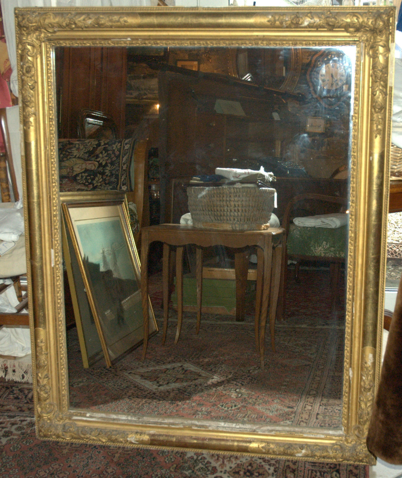 MIROIR DORE RECTANGULAIRE/RECTANGULAR GILDED MIRROR