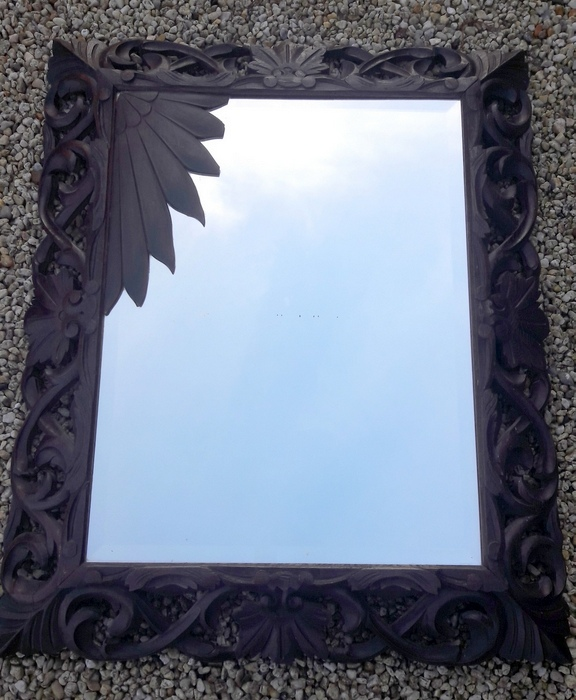 MIROIR FORET NOIRE BOIS SCULPTE / CARVED WOOD BLACK FOREST MIRROR