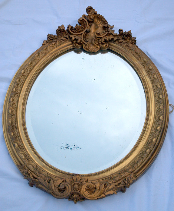 MIROIR OVALE DORE ROCAILLE / GOLD OVAL MIRROR ROCAILLE