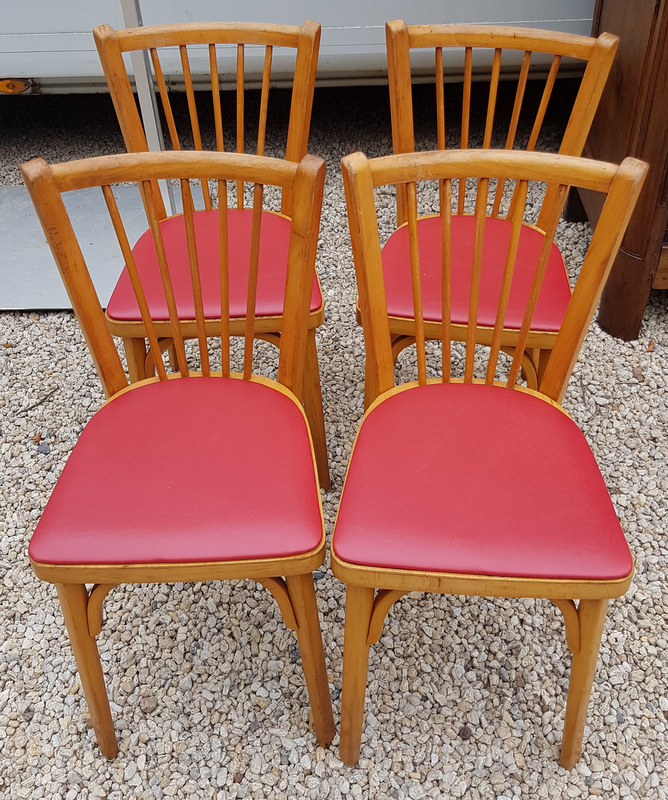 4 CHAISES BISTROT BAUMANN ROUGES 1950/ 4 RED CHAIRS SIGNED BAUMANN