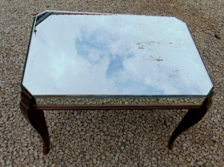 TABLE BASSE MIROIR RECTANGULAIRE/40's vintage coffee table